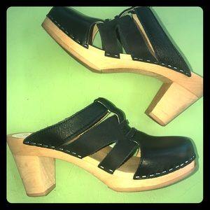 Black Maguba high heel slip on Swedish clogs